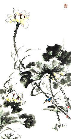 (North Korea) White Magnolia by Gang Chel-hak (1966-  ). 강철학.