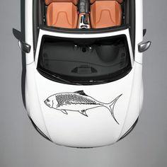 ANIMAL EVIL BEAUTIFUL FISH DESIGN HOOD CAR VINYL STICKER DECALS ART MURAL SV1080