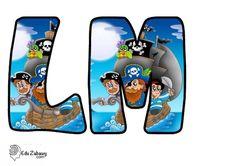Piraci: Okrągłe litery i cyfry Dzień postaci z bajek Litery i cyfry do tworzenia napisów Piraci Postacie