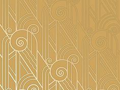 Bradbury & Bradbury Art Deco Old Gold Volute wallpaper. Art Deco Fabric, Motif Art Deco, Art Deco Design, Paper Design, Art Deco Wallpaper, Retro Wallpaper, Pattern Wallpaper, Bedroom Wallpaper, Retro Kunst