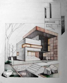 Two point perspective drawing rendered using coloured pencil to hatch and shade the tonal and textural qualities and lead to outline the forms.