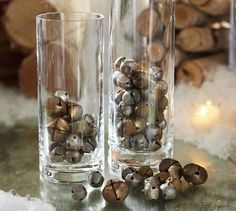 Christmas Decorations:  I love the idea of using jingle bells for vase fillers.