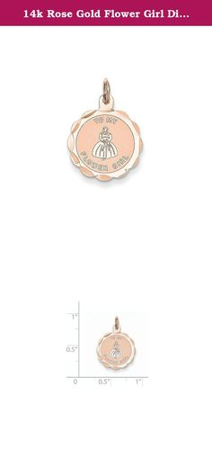 14k Rose Gold Flower Girl Disc Charm. Attributes Polished Stamped Flat back Engravable 14k Rose gold Faceted Laser Etched Product Description Material: Primary - Purity:14K Length of Item:22 mm Material: Primary:Gold Width of Item:16 mm Engravable:Yes Product Type:Jewelry Jewelry Type:Pendants & Charms Sold By Unit:Each Pendant/Charm Type:Themed Charm Material: Primary - Color:Rose.