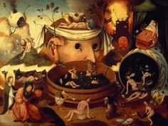 Anything by Hieronymus Bosch.  It was surrealism WAY before it was called surrealism.  Much of his art was displayed as tryptichs placed upon church altars and meant to illustrate the complexities of Heaven and Hell.