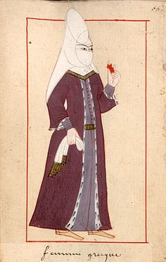 """Greek woman  """"femme grecque"""". The 'Rålamb Costume Book' is a small volume containing 121 miniatures in Indian ink with gouache and some gilding, displaying Turkish officials, occupations and folk types. They were acquired in Constantinople in 1657-58 by Claes Rålamb who led a Swedish embassy to the Sublime Porte, and arrived in the Swedish Royal Library / Manuscript Department in 1886."""