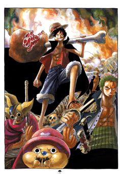 One Piece... Luffy with a gigantic piece of meat, this is great!.