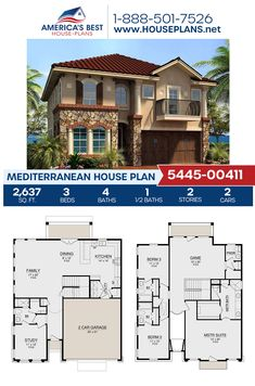 Plan 5445-00411 details a 2,637 sq. ft. Mediterranean home with 3 bedrooms, 4.5 bathrooms, an open floor plan, a stacked porch, a media room, and a study. #mediterraneanhome #architecture #houseplans #housedesign #homedesign #homedesigns #architecturalplans #newconstruction #floorplans #dreamhome #dreamhouseplans #abhouseplans #besthouseplans #newhome #newhouse #homesweethome #buildingahome #buildahome #residentialplans #residentialhome Best House Plans, Dream House Plans, House Floor Plans, Building Plans, Building A House, 3 Bedroom Home Floor Plans, Caribbean Homes, Architectural House Plans, Mediterranean House Plans