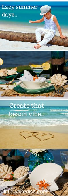 Our inspiration came from the beach front, ocean view of the pacific. Our tableware and decor will take guess on a journey through sand and salt water. Beach Table Settings, Lazy Summer Days, White Dishes, Little White, Event Planning, Tableware, Decor, Dinnerware, Decoration