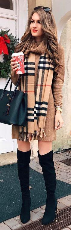 #winter #fashion / Pattern Fringe Scarf + Camel Knit Dress + Black OTK Boots + Black Leather Tote