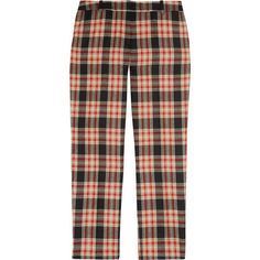 J.Crew Café plaid wool-twill Capri pants ($85) ❤ liked on Polyvore featuring pants, capris, bottoms, plaid, capri, plaid capris, twill capris, j. crew pants, wool pants and slim tapered pants