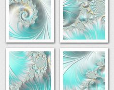 Sea foam green fractal print set, light blue gren decor, sea shell decor, 4 part art print, large green blue art, large teal fractal art