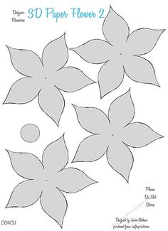 3D PAPER FLOWER TEMPLATES 2 - CU4CU by Janice Shehan Here is a cute series of 3D Paper Flower Templates. These can be used for CU4CU. Be…