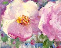 """Peonies Pink White Spring Floral Flowers Still Life Unframed 6""""W x 8""""H -Original Oil Painting by Tina Wassel Keck - Oil on canvas on panel"""