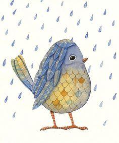 Watercolor Original Painting Bird Art Bird No.50 by Lorisworld