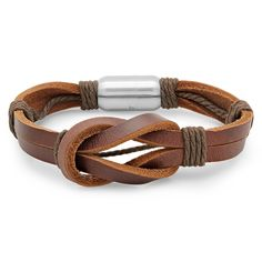 Brown Leather Knot Bracelet zulily Knotted leather bands and rope-inspired details give this bracelet a rustic edge. The stainless steel clasp ensures quick on and off. Leather Men, Brown Leather, Loop Knot, Mens Braids, Leather Jewelry, Man Jewelry, Mens Jewellery, Leather Bracelets, Jewelry Ideas