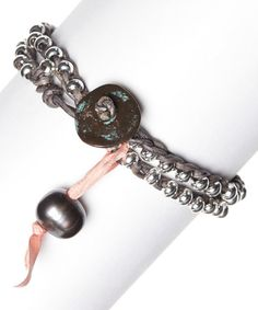 Look what I found on #zulily! Silvertone & Black Pearl Leather Wrap Bracelet #zulilyfinds