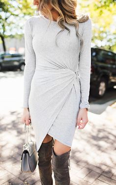 Ily Couture Long Sleeve Knot Knit Dress - Grey