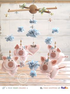 Pig Mobile Farm Mobile FREE FEDEX DELIVERY Farm by LollyCloth