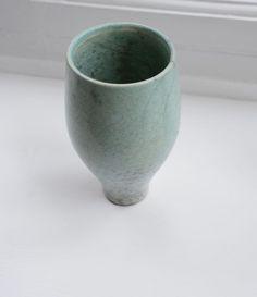 Ceramic Pot mini vase, cup, turquoise, vintage raku