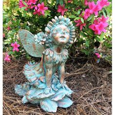 Homestyles 12 inchH Penelope Flower Fairy in Bronze Patina Home Patio & Garden Large Statue Fairy Statues, Gnome Statues, Outdoor Garden Statues, Temple Gardens, Love Garden, Garden Ideas, Lanterns Decor, Retriever Puppy, Flower Fairies