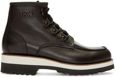 Dsquared2 Black Leather Lace-Up Ankle Boots