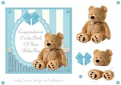 Baby Boy Teddy Bear by Vicky Sumner 6.5 x 6.5 topper with layer elementsPUCU allowed for hand finished items