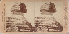 1896 A.S.CAMPBELL STEREOVIEW OF THE ANCIENT SPHINX FROM THE SIDE GIZA EGYPT