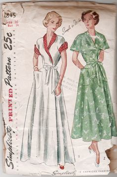Simplicity 2845 Misses Easy Wrap Housecoat Dress Pattern Shawl or Capelet  Collar Womens Vintage Sewing Pattern Size 16 Bust 34 b68256c70