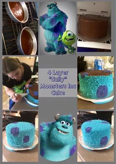"""""""Sully"""" Monsters Inc Cake This is my Oreo Mocha flavor creation. My fresh brewed """"crack coffee"""" is the liquid for the cake batter. Monster University Birthday, Monster 1st Birthdays, Monster Inc Party, Monster Birthday Parties, Birthday Ideas, Third Birthday, Sully Monsters Inc, Monsters Inc Cookies, Disney Monsters"""