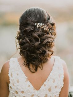 Back view of curled some up, some down bridal hair ~ we ❤ this! moncheribridals.com