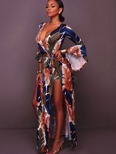 3dca972da321 Plume Printing Long Maxi Dress Women Deep V Neck Flare Sleeve High Split.  qiyshisky · Women s Jumpsuits Casual