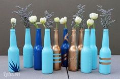 Recycling bottles into unique flower vase