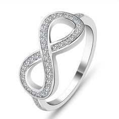 Fashion Infinity White CZ Micro Setting 925 Sterling Silver Ring