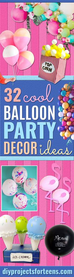 Balloon Crafts - Fun Balloon Craft Ideas Wall Art Projects and Cute Ballon Decor - DIY Balloon Ideas for Toddlers Preschool Kids Teens and Adults - Cheap Crafts Made With Balloons - Pumpkins Bowls Marshmallow Shooters Balls Glow Stick Hot Air Str Cute Art Projects, Toddler Art Projects, Art Projects For Teens, Crafts For Teens, Diy Projects, Cheap Party Decorations, Diy Birthday Decorations, Birthday Diy, Birthday Parties
