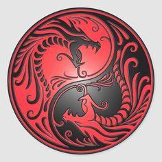 Yin Yang Dragons, red and black Round Sticker - Custom Stickers tattoos male tattoos band tattoos men tattoos forearm Yen Yang, Ying Y Yang, Arte Yin Yang, Yin Yang Art, Red Dragon Tattoo, Dragon Sleeve Tattoos, Tribal Dragon Tattoos, Dragon Yin Yang Tattoo, Yin Yang Tattoos
