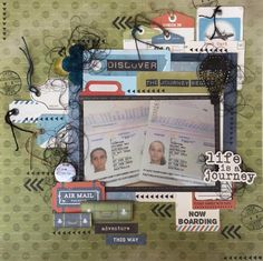"""""""Life Is A Journey"""" Layout by Linda T. Design Team Kaisercraft using 'Wanderlust"""" collection ~ Scrapbook Pages 3."""