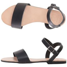 American Apparel Candy Sandal (105 CAD) ❤ liked on Polyvore featuring shoes, sandals, flats, black, black leather shoes, black ankle strap sandals, black flats, black ankle strap flats and black flat shoes