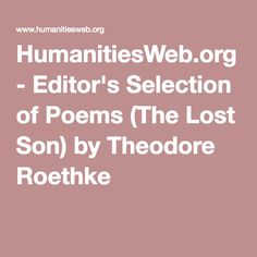 HumanitiesWeb.org - Editor's Selection of Poems (The Lost Son) by Theodore Roethke