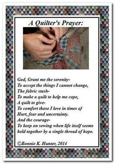 Quilters Prayer from Bonnie Hunter