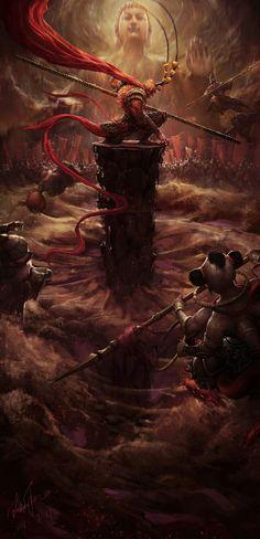 My king has return! Samurai Artwork, King Tattoos, Chinese Mythology, Journey To The West, Monkey King, King Art, Art Anime, Dark Fantasy Art, Fantasy Creatures
