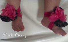 Infant barefoot sandals fiesta - Infant headband - Infant barefoot sandals and onesie - Baby Shower gift set for girl, fuchsia and purple.