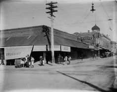and Congress St., circa T. Ed Litt's drugstore can be seen on the northeast corner, and the Ivancovich Building down the street. Image courtesy of the Arizona Historical Society/Tucson Street Image, Tucson Arizona, Historical Society, Family History, Louvre, Building, Ahs, Stone, Travel