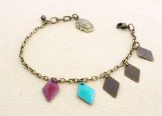 Bracelet aztèque indien, losanges violets verts