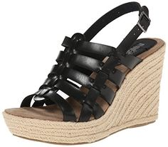 MIA 2 Womens Basket Wedge Sandal Black 85 M US ** More info could be found at the image url.