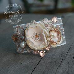 Jeanine wrist corsage cuff bracelet - Rose gold, nude taupe & tan (ass colors on request) prom matrix dance
