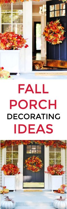 Looking for fall porch decorating ideas? Here are some simple ideas to get your porch ready for fall with all the colors of the season. Fall door. Fall porch decor. Fall ideas for the front porch. Fall decorating.