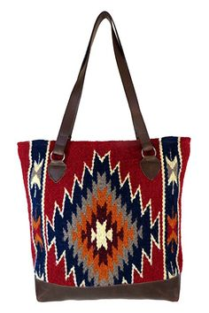 Large Tote Bag Purse, Hand Woven Wool Tote by El Paso Designs In Western & Native American Designs (Turquoise)
