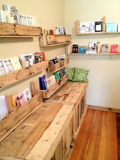 Pallet Furniture! Bench build with pallets and shelves built with pallets in the Portland Button Works shop in Portland, Oregon.