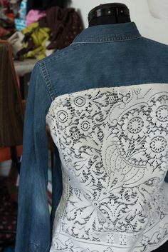 Cute idea for restyling an old denim shirt or jacket