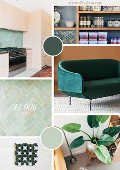 GREEN WITH ENVY // Moodboard trend forecasting super stunning green interior. Featuring Aqua Moroccan zellige tiles from Tiles of Ezra. Blue Tiles, Moroccan Tiles, Midnight Blue, Interior Design, Envy, Bathrooms, Aqua, House, Color